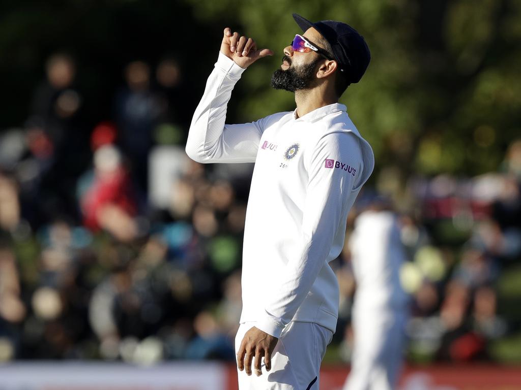 India's Virat Kohli gestures to the crowd