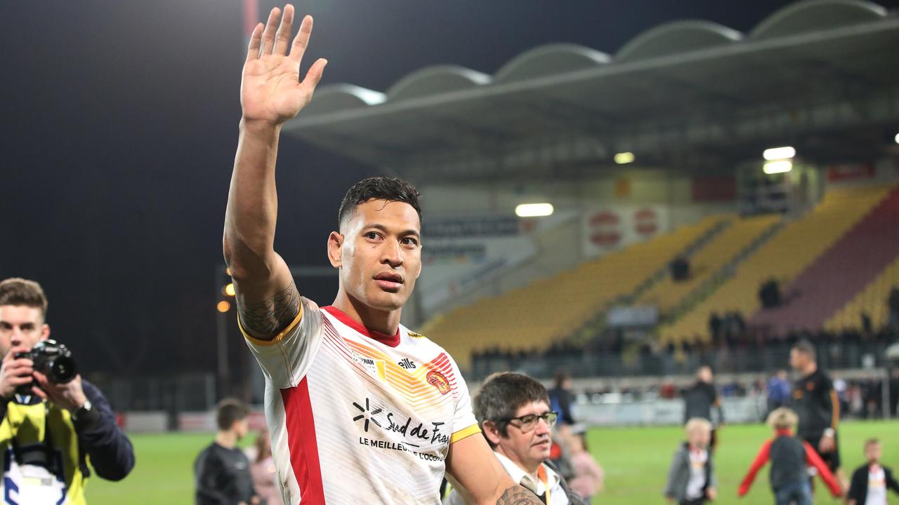 Israel Folau wins his first rugby super league game with The Catalan Dragons. Picture: Ella Pellegrini