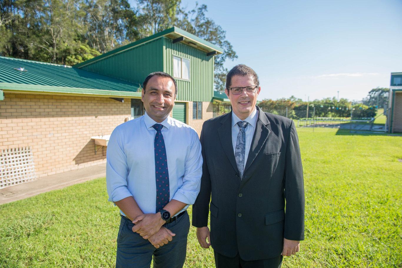 Member for Coffs Harbour Gurmesh Singh and John Paul College principal Michael Carniato at the building site.