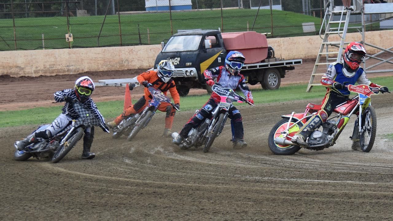 REVVED UP: The grand final race between Tate Zischke, Jaidyn Eaton Seth Tregea and Lachlan Hawgood at the Kingaroy Speedway. (Picture: Tristan Evert)