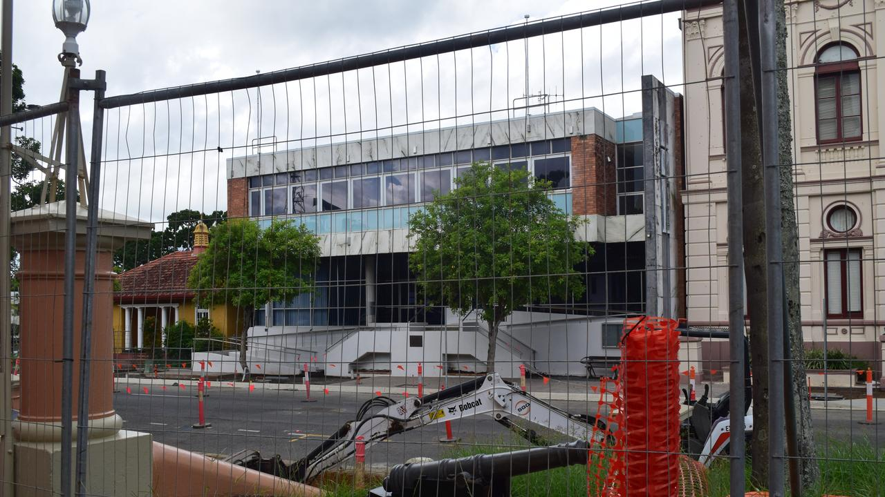 CLEARING OUT: Construction crews have moved into the former Fraser Coast Council administration building in Maryborough to start its demolition.