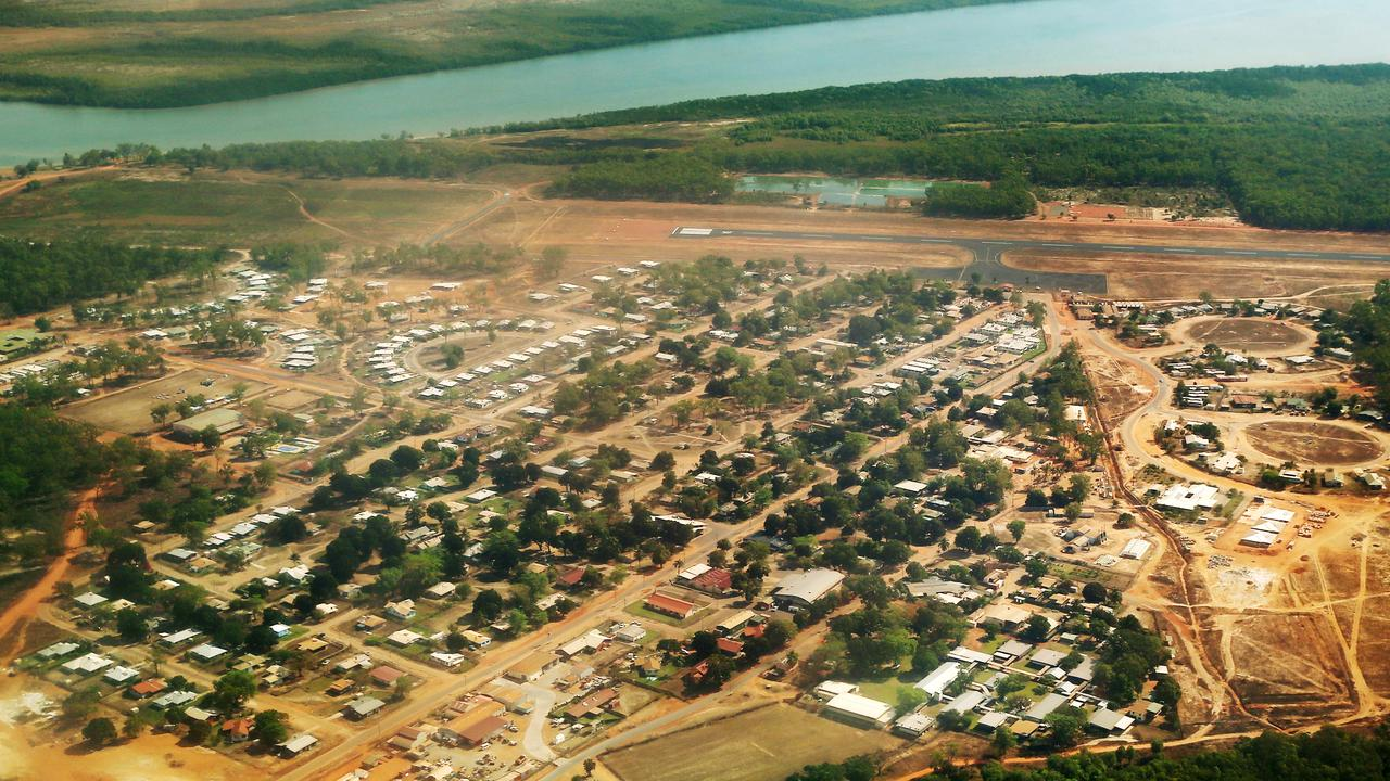 Aerial image of Aurukun, an indigenous community on the Gulf of Carpentaria, PICTURE: BRENDAN RADKE.