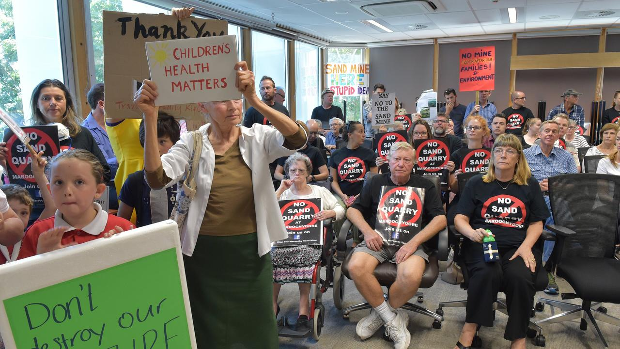 Sand mine opponents attend the Nambour Council Chambers in 2016, packing out the chambers.