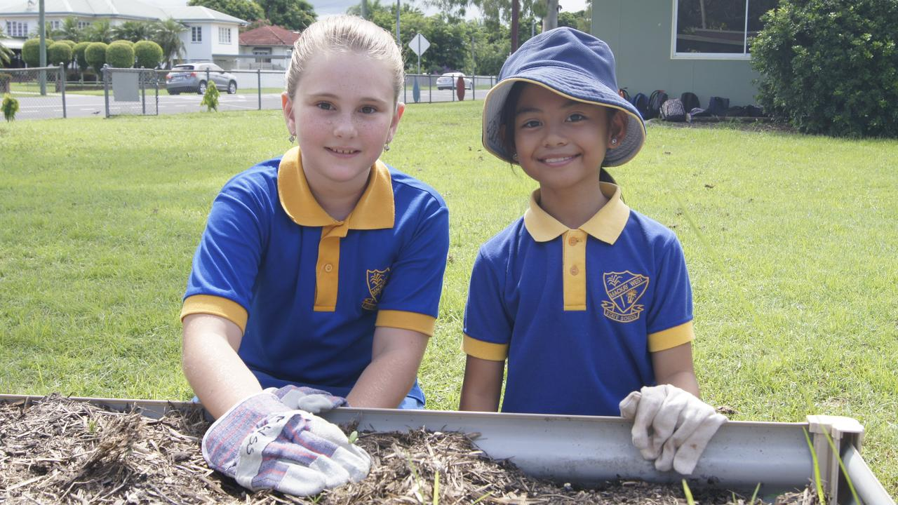 Mackay West State School year four students Chloe Chambers and Gaile Copo helping clear out the weeds for planting. Picture: Heidi Petith