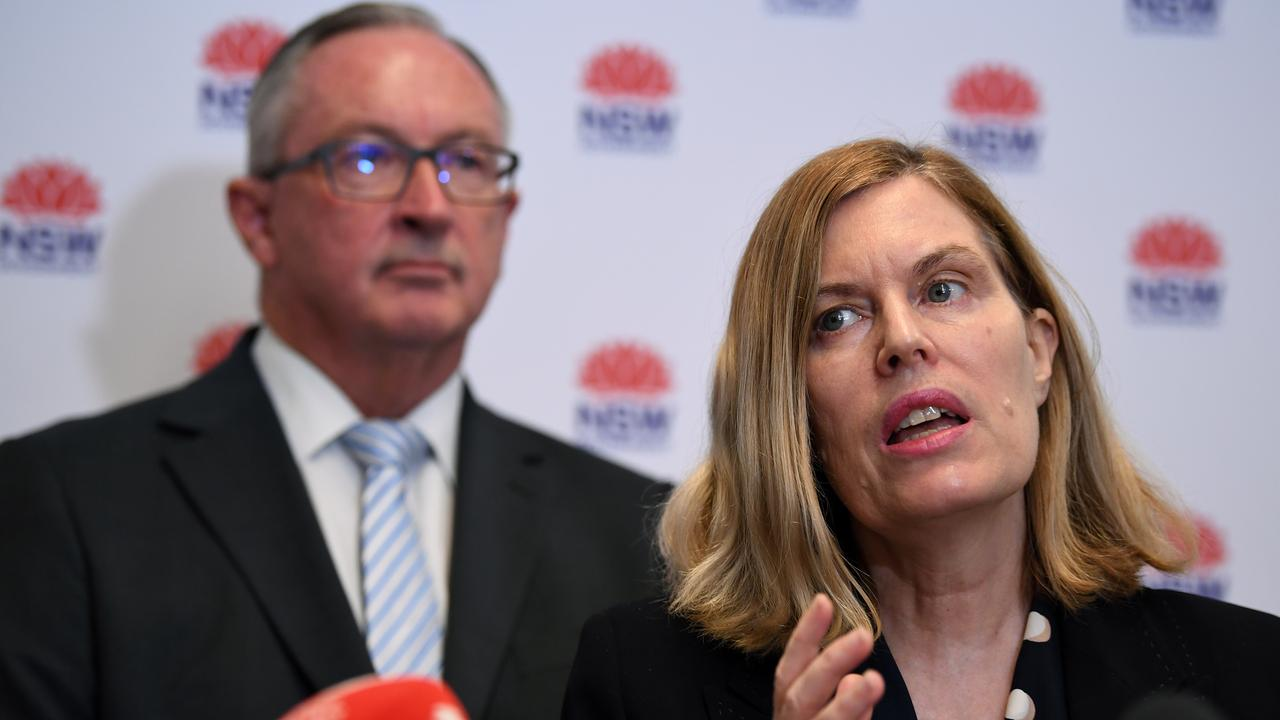 Health Minister Brad Hazzard (left) and NSW chief health officer Dr Kerry Chant during an announcement regarding 2020 influenza vaccine on Monday. Picture: Joel Carrett/AAP