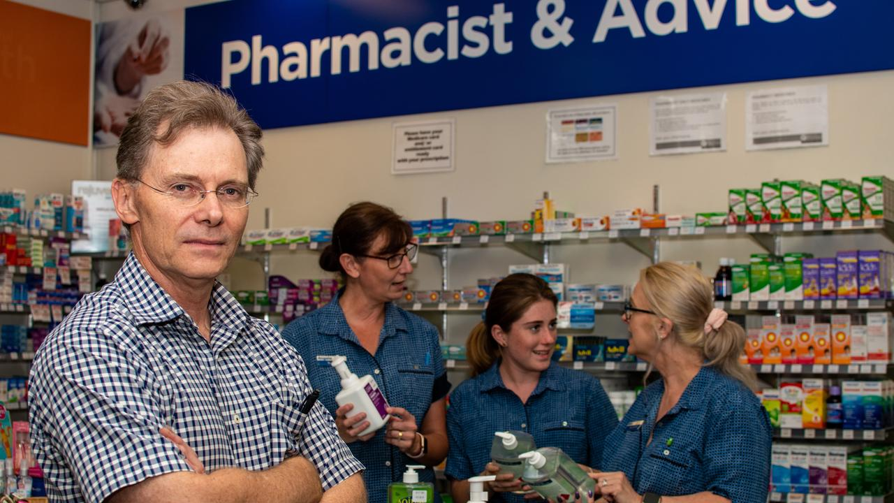 HEALTH SCARE: Guardian Pharmacy Gatton pharmacist David Cullen has been inundated with customers buying hand sanitiser and face masks. PHOTO: ALI KUCHEL.