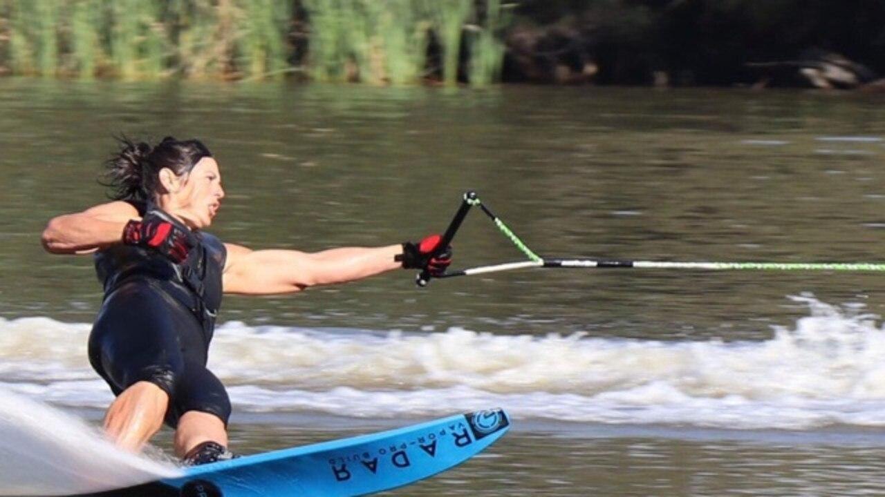 Mel Collins recently set an Australian record in a waterskiing meet in Bundaberg.