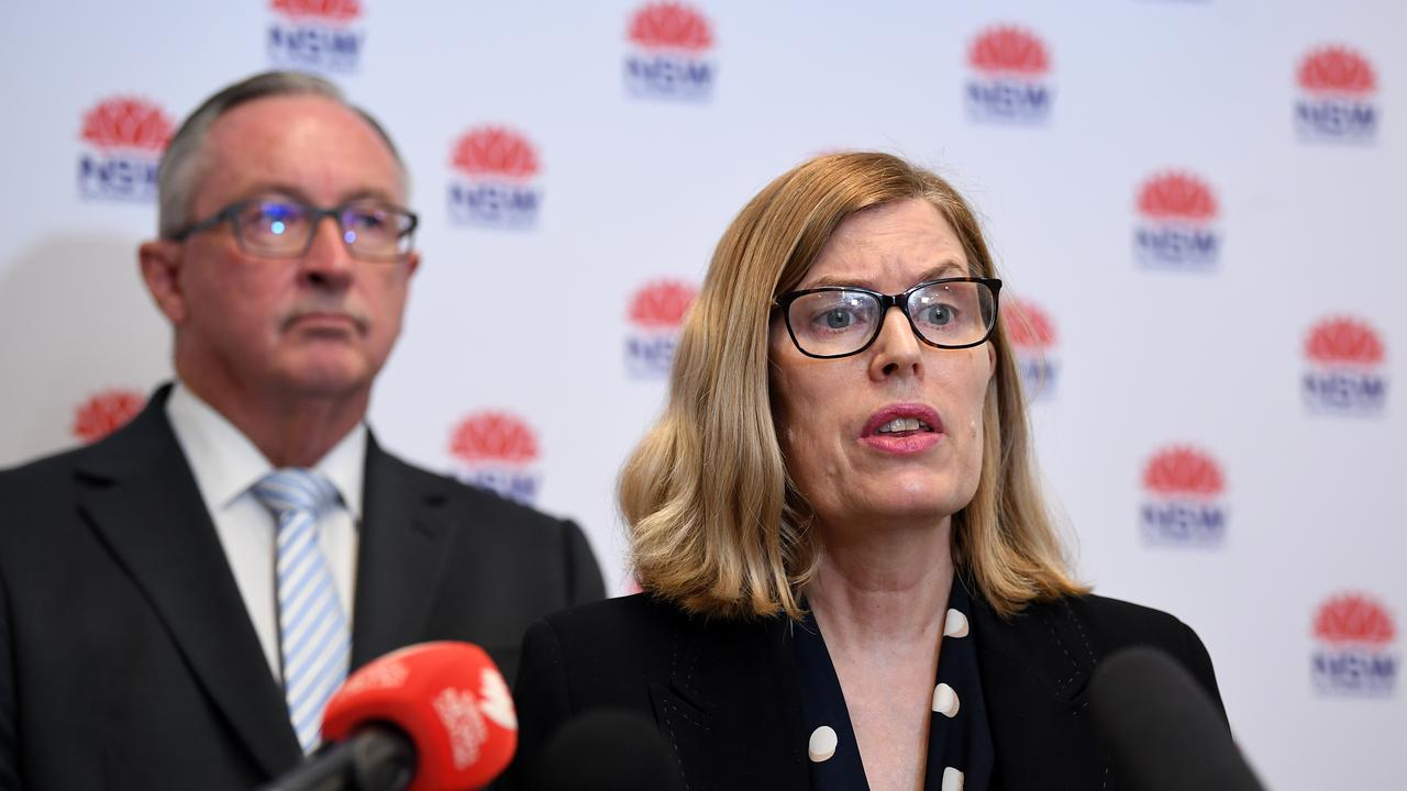 Health Minister Brad Hazzard and NSW Chief Health Officer Dr Kerry Chant announce the new measure. Picture: Joel Carrett