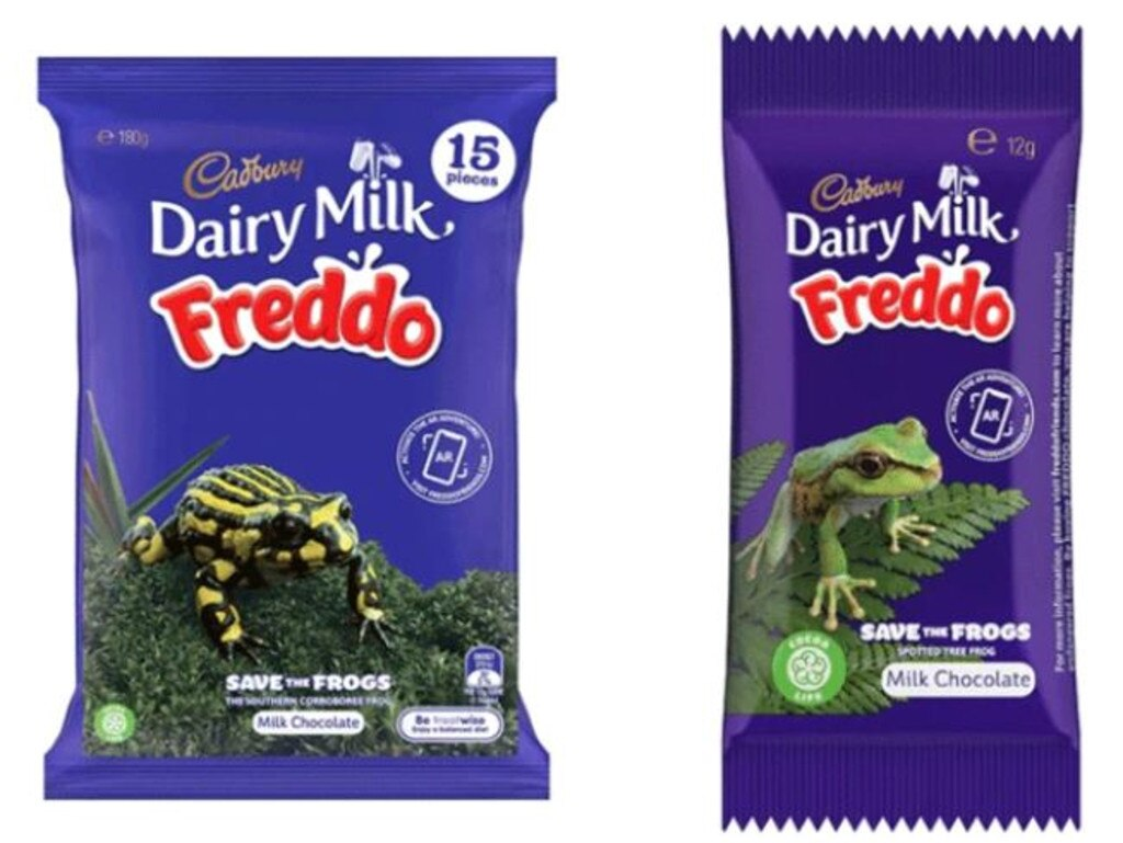 The new packaging is designed to bring awareness to endangered frog species.