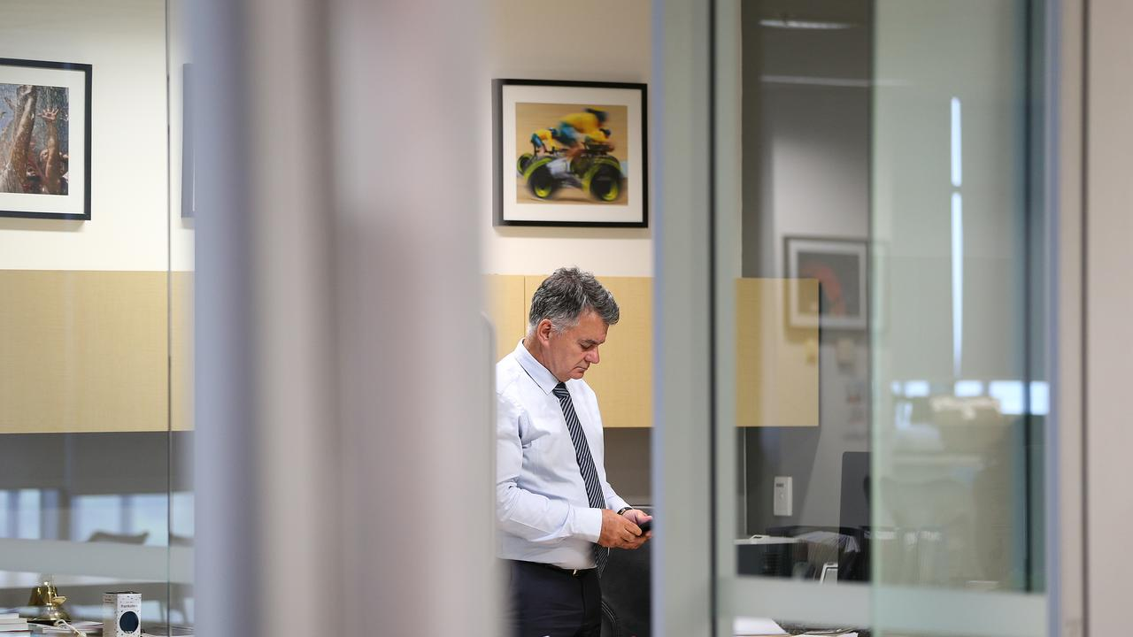 AAP Editor in chief Tony Gillies in his office before the AAP closure announcement on Tuesday. Picture: AAP Image/Dylan Coker