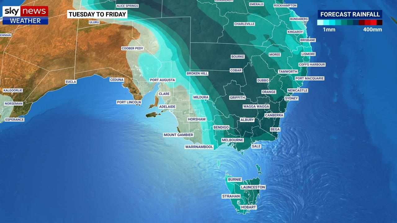 A 500km wide band of heavy rain is likely to stretch across much of New South Wales with rain likely in neighbouring states. Picture: Sky News Weather.