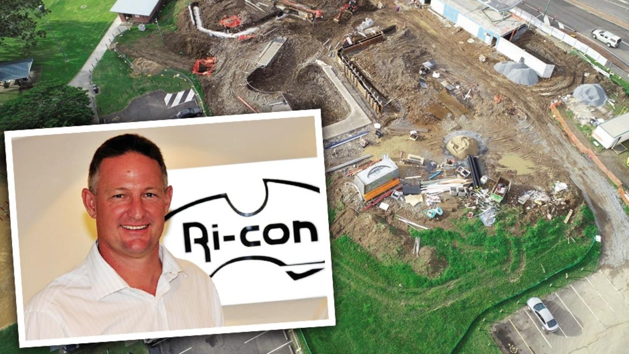 Ri-Con director John Jenkins, and the Gympie Youth Hub under construction. Ri-con went into liquidation in January.