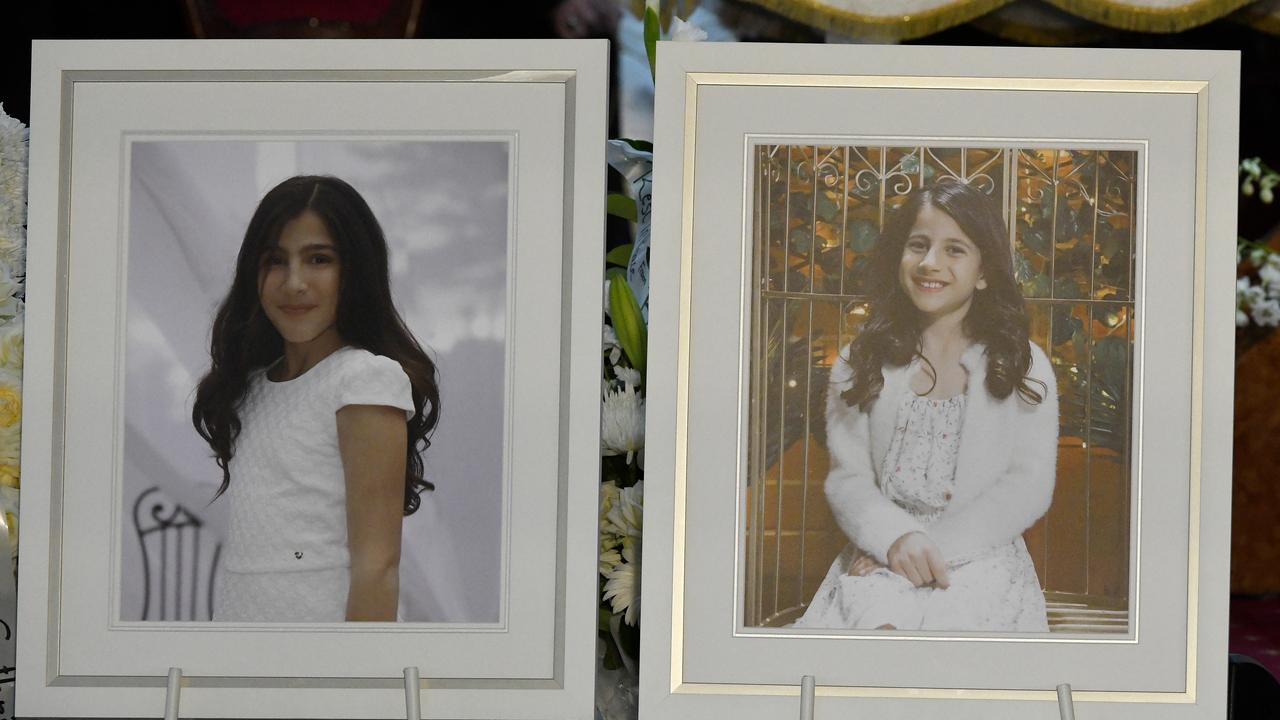 Photographs of Angelina (left) and Sienna are seen in the church during the funeral for Anthony Abdallah, 13, Angelina Abdallah, 12, and Sienna Abdallah, 8, at Our Lady of Lebanon Co-Cathedral in Sydney, Monday, February 10, 2020. Picture: AAP /Bianca De March.