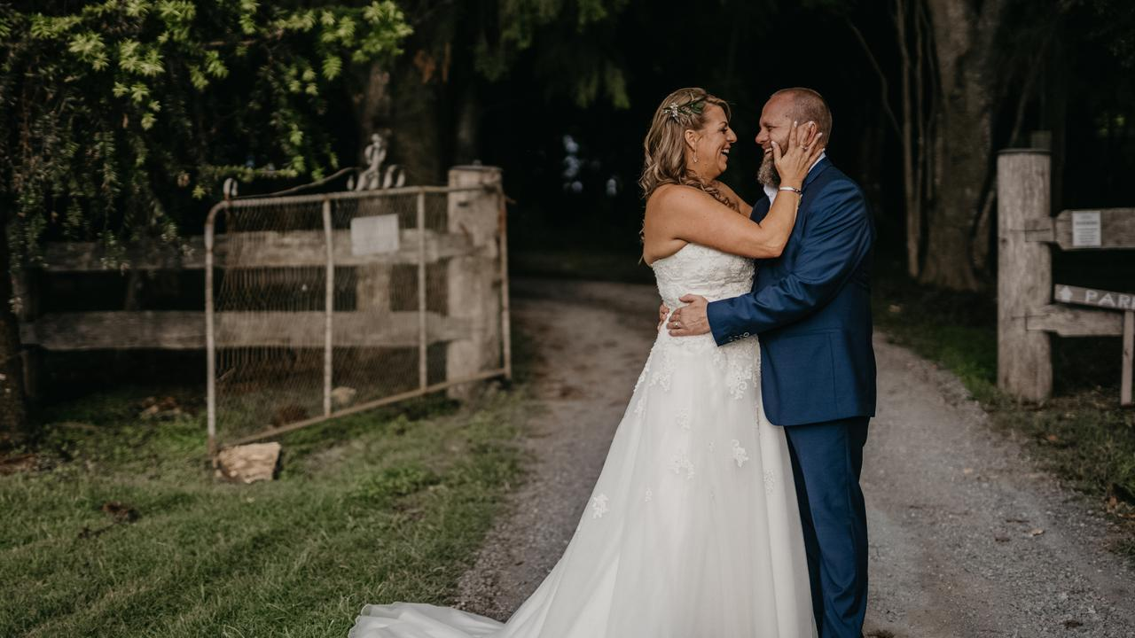 Kieran and Renee Small tied the knot last week, thanks to the help of dozens of generous local operators. Photo: Glass Slipper Photography