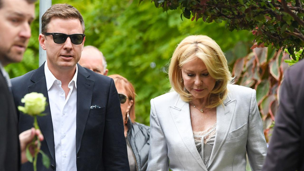 Ben Fordham and Kerri-Anne Kennerley arrive at the funeral service for Caroline Laws. Picture: AAP