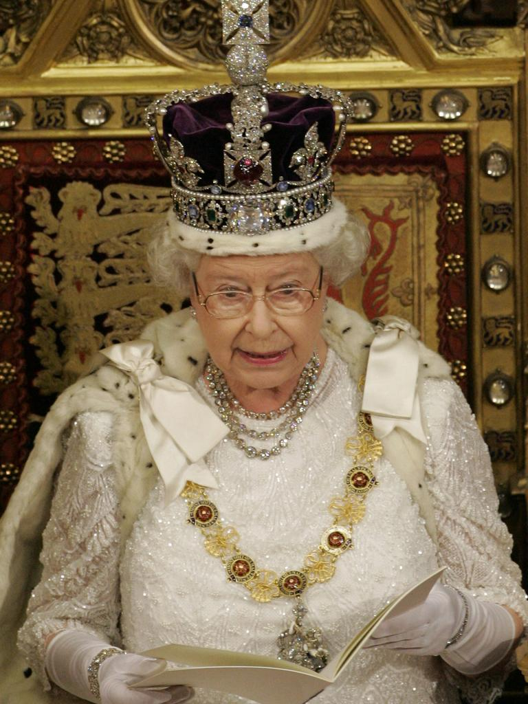Britain's Queen Elizabeth II on her throne. Picture: AP Photo/Alastair Grant