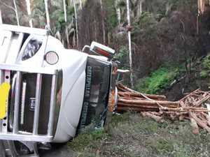 Truck crashes down embankment carrying logs