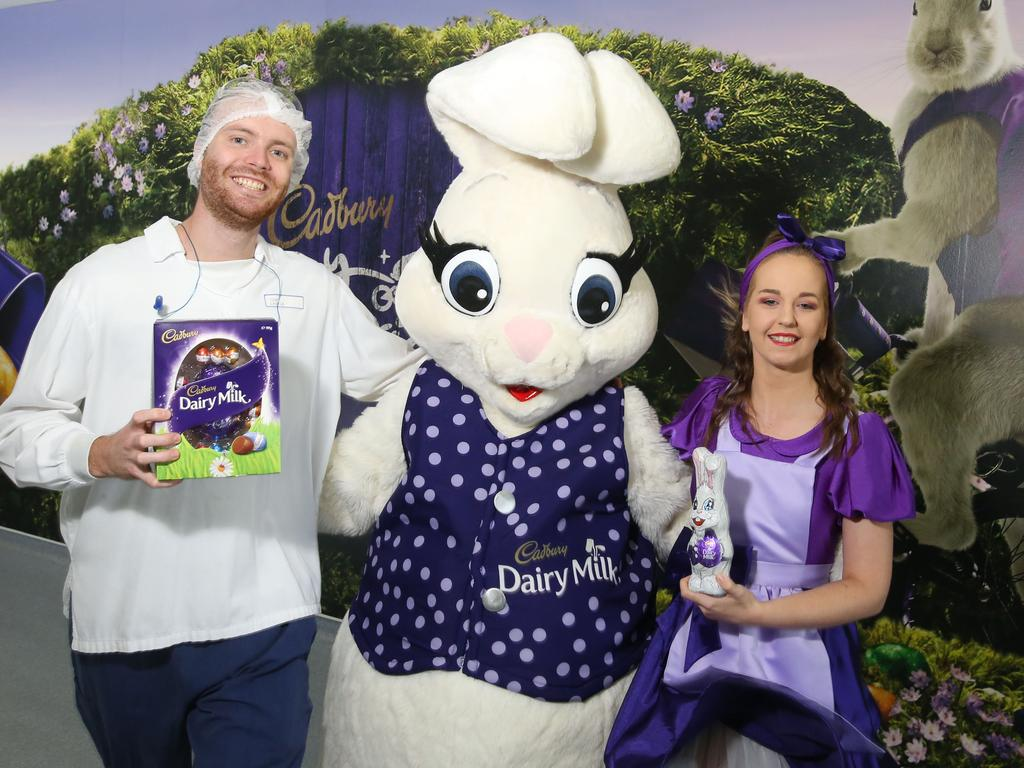 March 5, Cadbury Factory in Ringwood Pre-Easter Tour. Tom Castle the Easter bunny and his Chaperone. Picture: Stuart Milligan