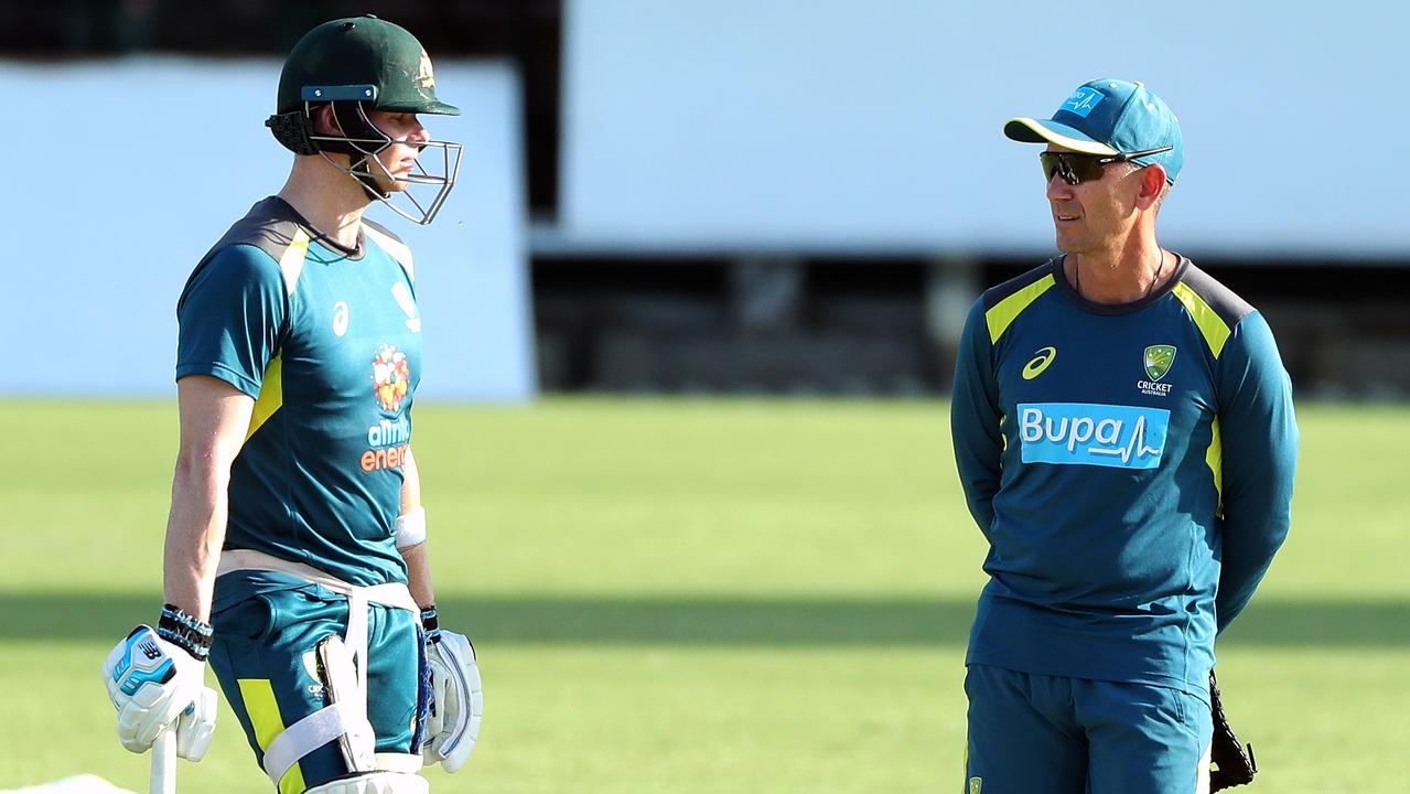 Australian coach Justin Langer says Steve Smith (left) could be considered for a vice- captaincy role once his leadership ban expires. Picture: AAP