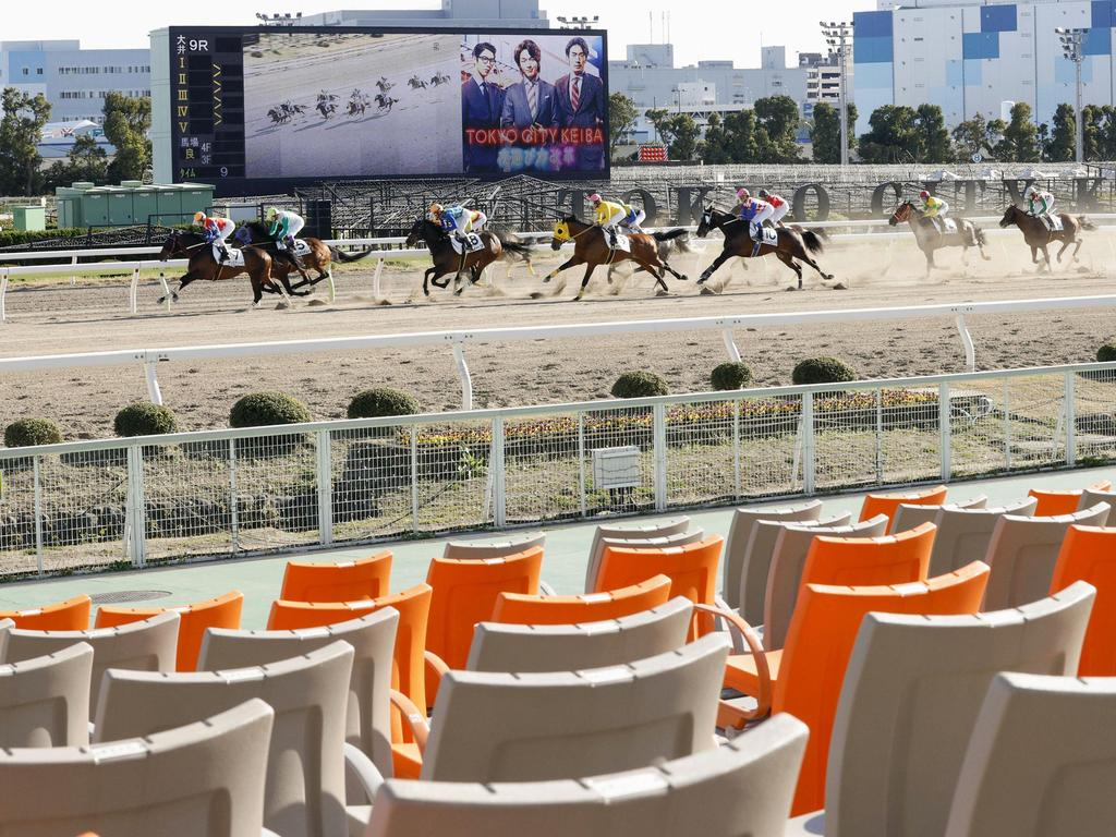 Public events in Japan have been closed to the public, from sporting matches to horse races. Picture: AP