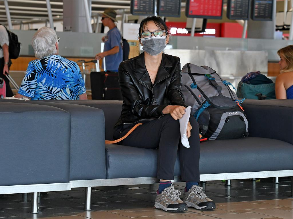A traveller from China at the International Airport in Brisbane. Picture: AAP