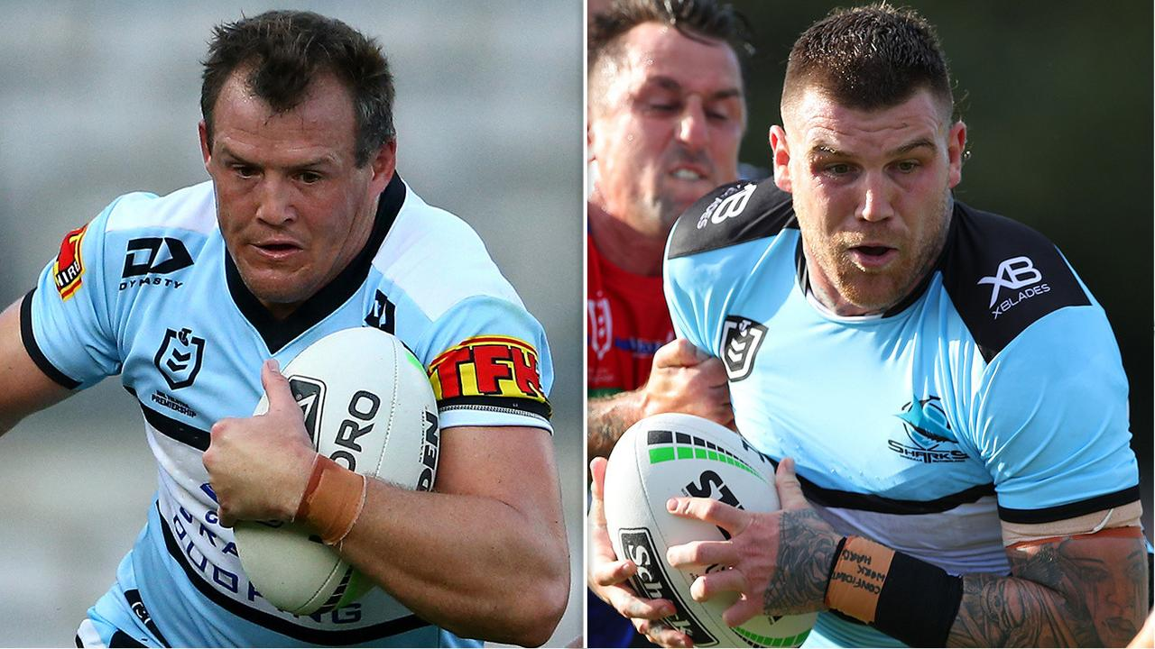Cronulla Sharks players Josh Morris and Josh Dugan.