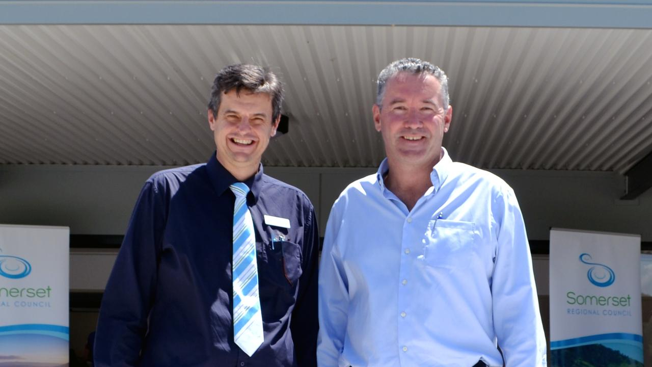 Somerset Regional Council CEO Andrew Johnson and Racing Queensland CEO Brendan Parnell at the new-look Kilcoy Racecourse buildings.