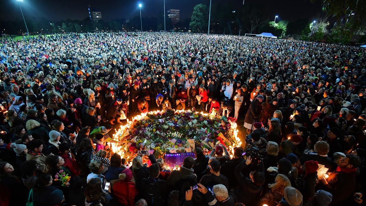 People flooded Princes Park in Carlton at a vigil for Eurydice Dixon. Picture: Jason Edwards