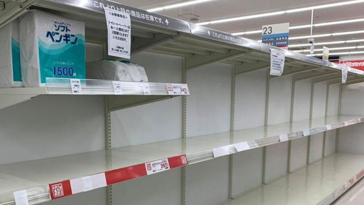 Empty shelves in Sapporo, Japan, which is in a state of emergency due to coronavirus. Picture: Supplied