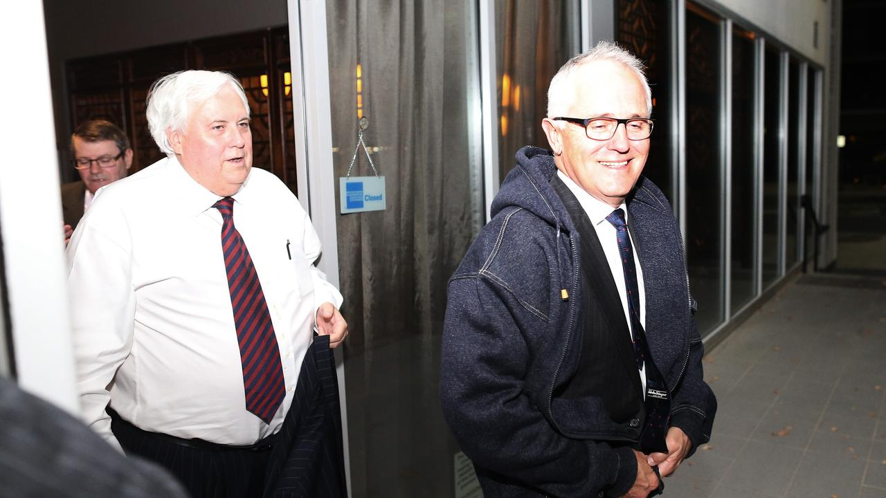 Clive Palmer and Malcolm Turnbull in friendlier days after a secret dinner meeting