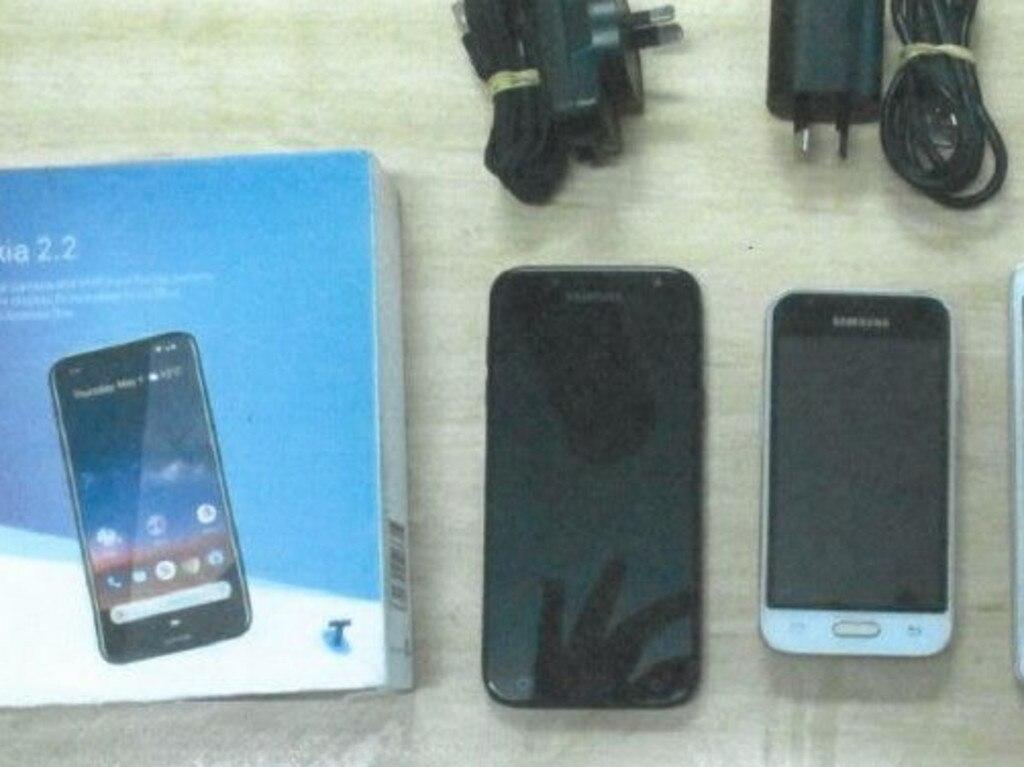 Mobile phones found in the hidden esky.