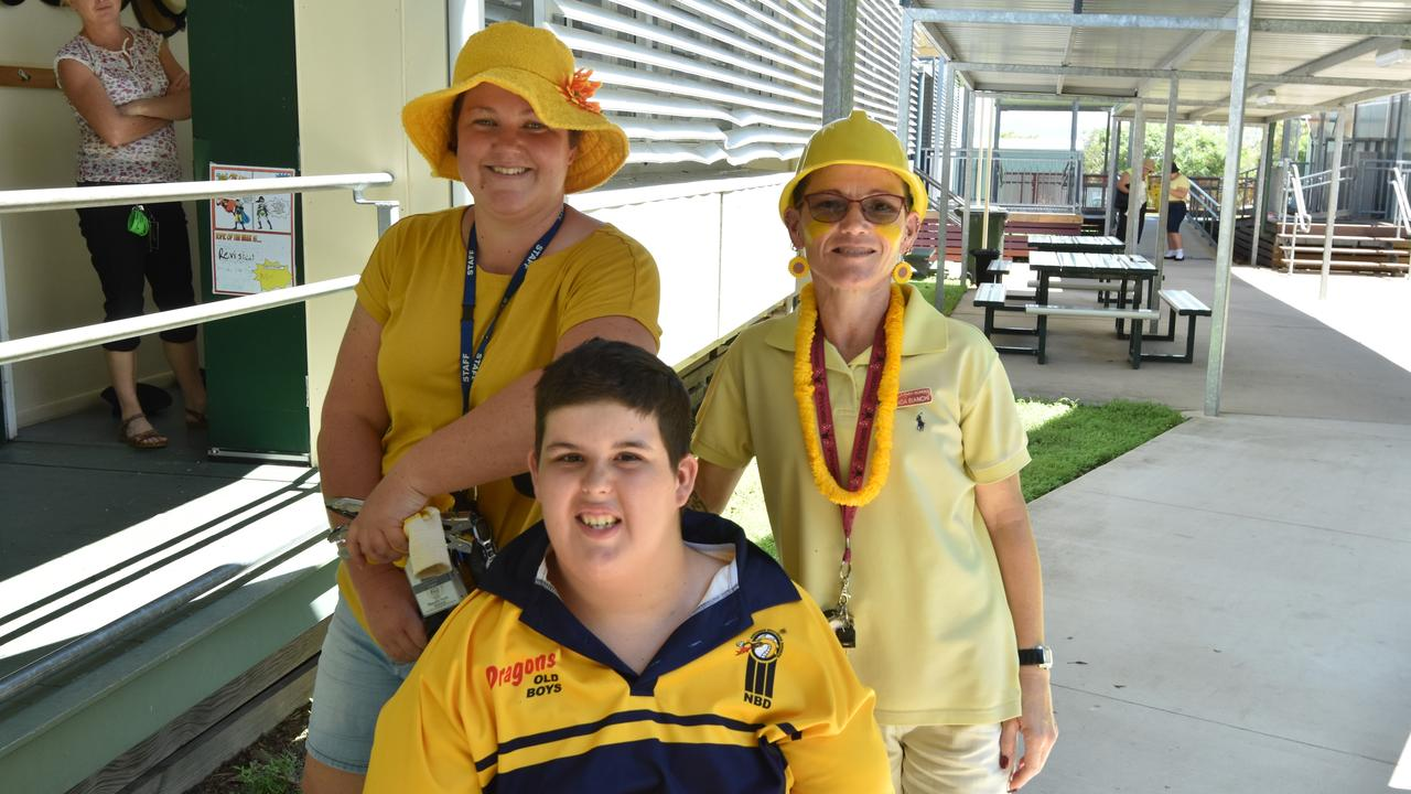 Sally Brierley, Zac Jenner and Rhonda Bianchi at Rosella Park School's Clean Up Day event