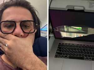Reclining seat crushes passenger's laptop
