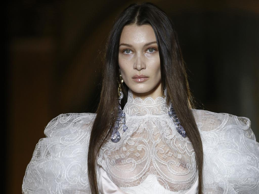 "Hadid said it was ""my kind of wedding dress"". Picture: Thierry Chesnot/Getty Images."