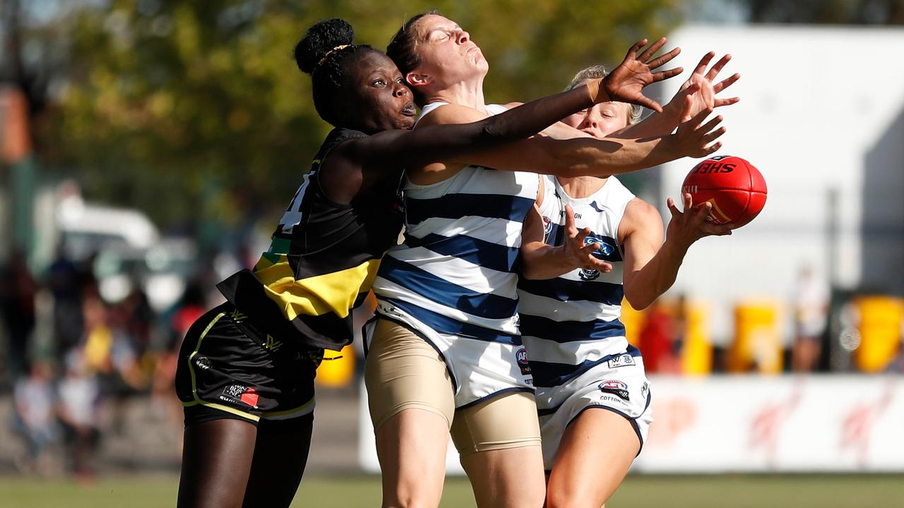 Akec Makur Chout, of the Tigers, and Meghan McDonald, of the Cats, compete for the ball. Picture: Getty