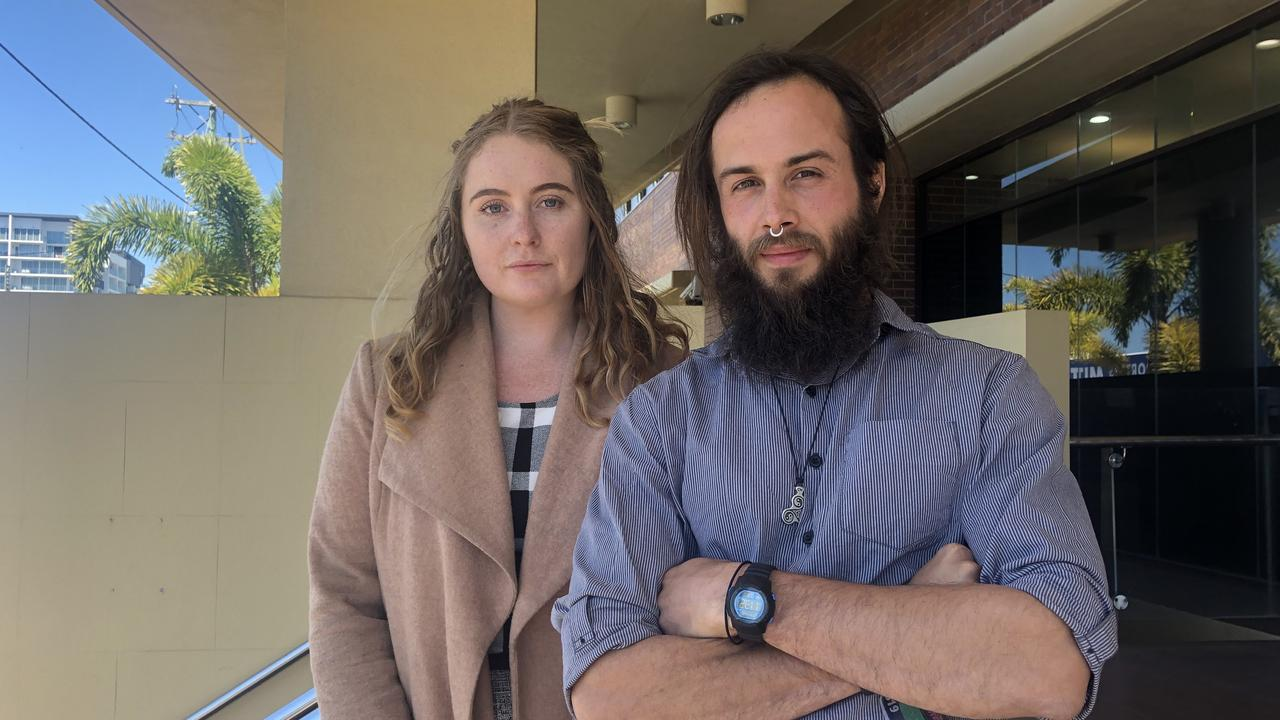 PROTEST: Amy Francis Booth, 25, and Reuben Michael Anstee, 28, pleaded guilty to multiple charges at Clermont Magistrates Court after suspending themselves from poles at Adani's Carmichael mine site.