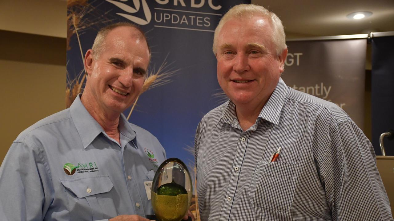 Murgon Agronomist Paul McIntosh and John Minogue. Photo: Grains, Research and Development Corporation