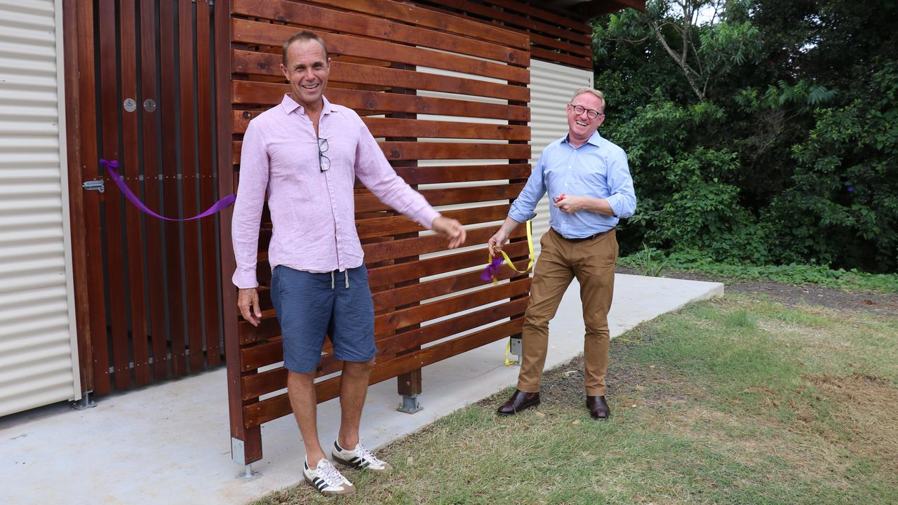 The Hon. Ben Franklin and President of Eureka and District Sports Club Simon Pearce cut the ribbon to officially open the new amenities block at the Eureka Recreation Reserve.