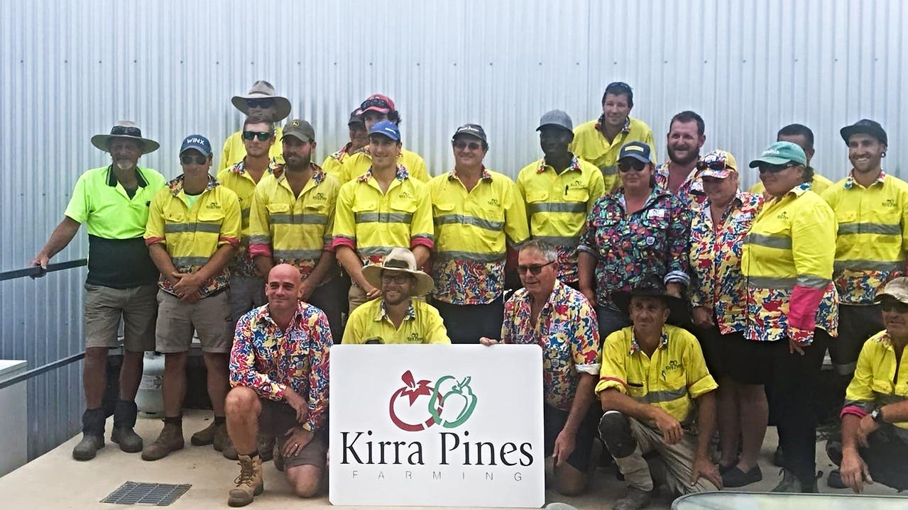 Kirra Pines workers in their TradeMutt shirts. Picture: Contributed