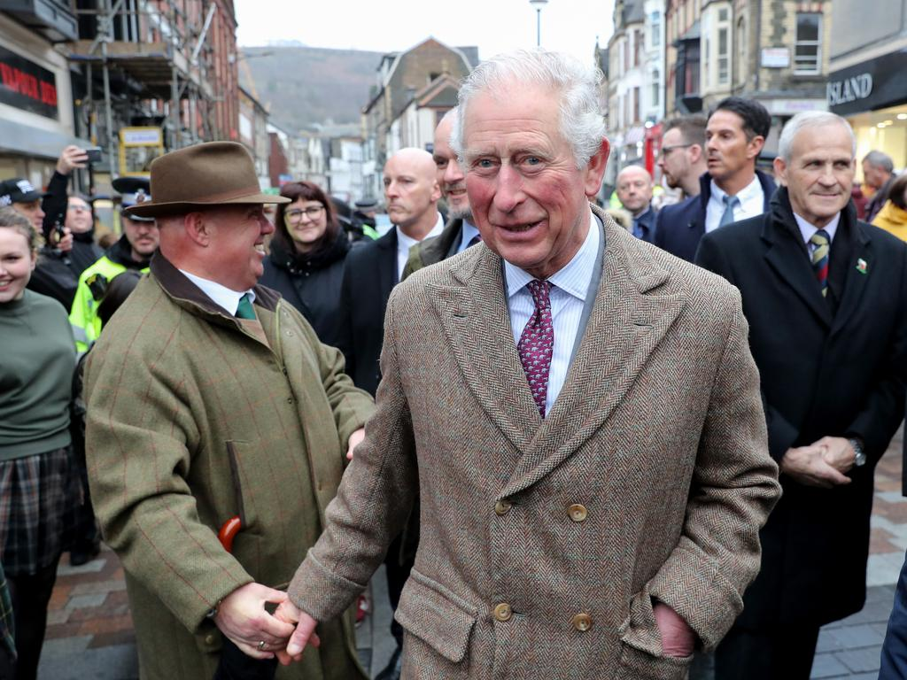 The Prince of Wales during a visit to the town of Pontypridd on February 21 to meet residents and businesses affected by recent floods. Picture: Getty
