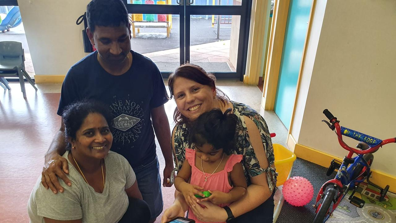 Angela Fredericks, pictured with Nades, Priya and Tharunicaa, 2, during a visit to the Christmas Island detention centre last month.