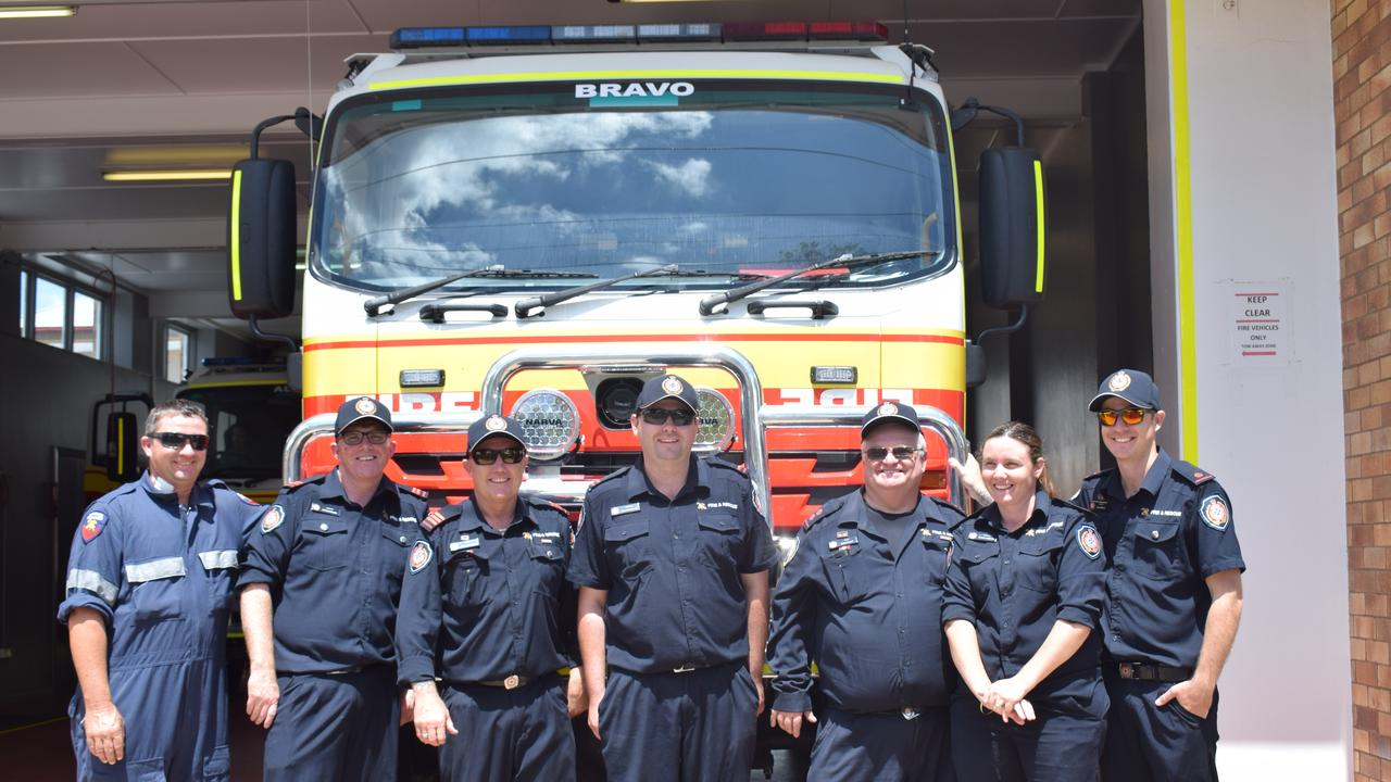 LOCAL HEROES: The firefighter team at the Chinchilla fire station open day on Saturday for Red Balloon Day.