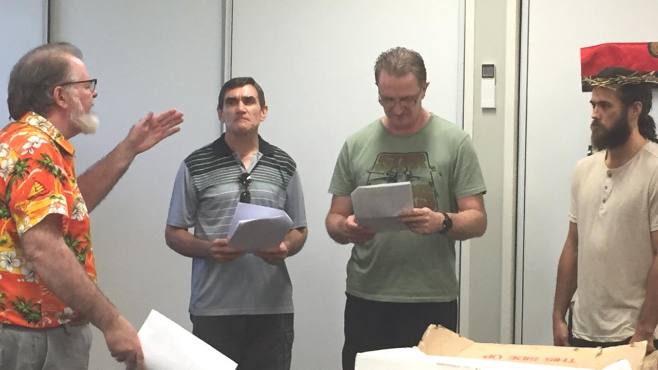 Actors (from left) Greg Webb as Caiaphas, Arend Hoon as Centurion, Trevor May as Pontius Pilate and Kyle Hemi as Jesus rehearse a scene of the Passion Play. Photo: Bronwyn Grannall