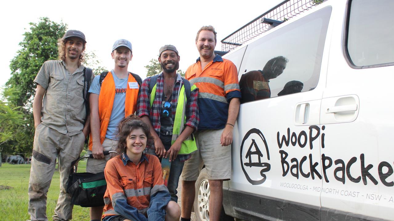 Woolgoolga Backpackers owner Sam Newman (far right) with Blaze Aid Glenreagh volunteers (from left) Pantaleo Ruocco, Mark Perrone Hannah Jackson and Kristian Fernandez-Brown.