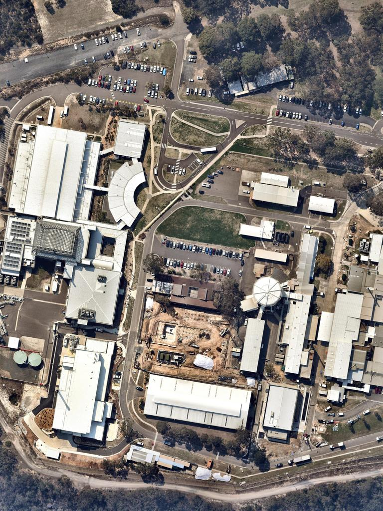 An aerial view of the nuclear reactor facility at Lucas Heights in Sydney. Picture: NearMap