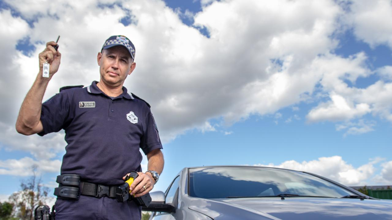 Laidley officer-in-charge Senior Sergeant Regan Draheim has been pleased to see a decline in crime figures in recent months. Picture: Dominic Elsome