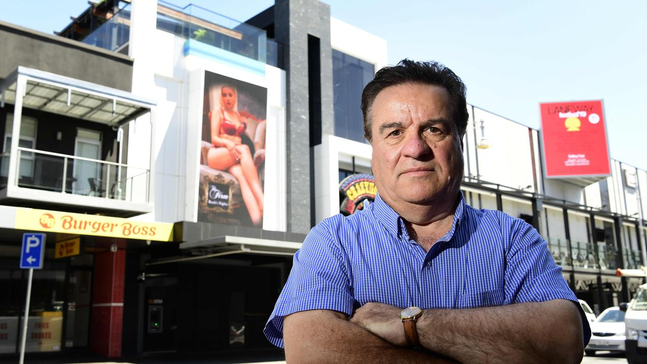 Frank Pangallo outside of the Crazy Horse strip club, Hindley St, Adelaide. He is not impressed about explicit advertising in the city. Picture: Bianca De Marchi