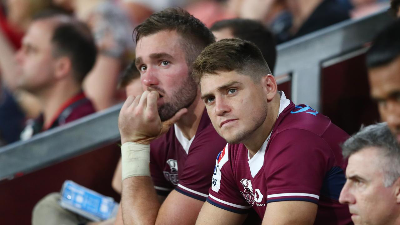 James O'Connor (R) looks on after injuring his ankle. Picture: Getty