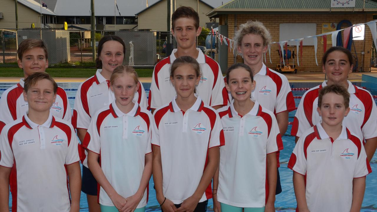Back: Braith Crossingham, Paige Connelly, Josh Freeman, Alex Reddacliff, Casey Springhall. Front: Harvey Sawtell, Shanelle Zischke, Caylee Crossingham, Sarah Adcock, Matty Reddacliff are off to the Wide Bay Regional long course championships at Kawana Waters on March 7-8, 2020. (Picture: Marguerite Cuddihy)