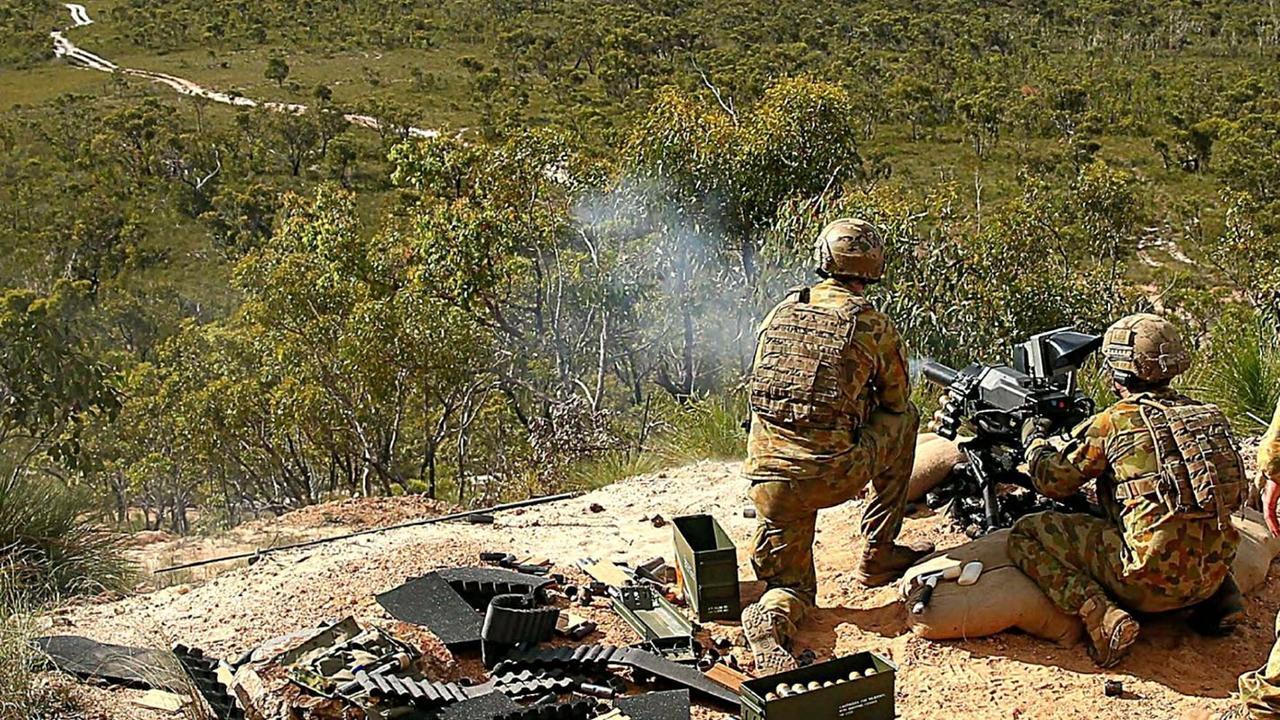 M1A1 Abrams Main Battle Tanks on the Wide Bay Training Area firing range.
